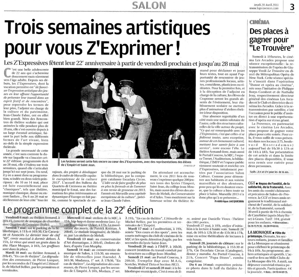 LA PROVENCE DU 18042011
