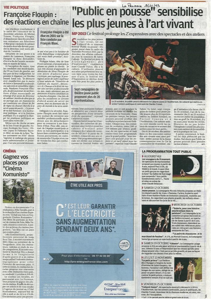 ARTICLE DE PRESSE LA PROVENCE DU 9 OCTOBRE