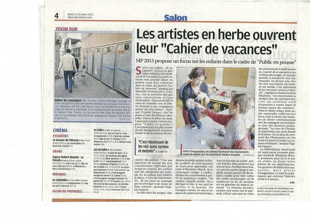 ARTICLE LA PROVENCE DU 22 OCTOBRE