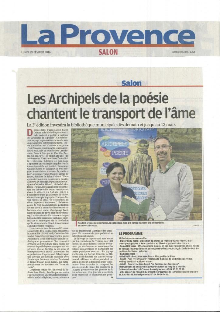 2016-02-29 Article de La Provence sur les Archipels